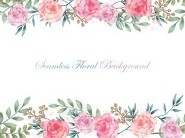 Seamless watercolor flower background with text space isolated on w white background.