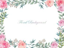 Watercolor flower frame/background with text space.