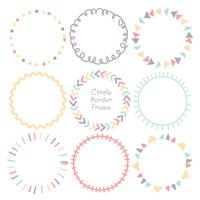 Set of colorful doodle borders circle frame, Decorative round frames. Vector illustration.
