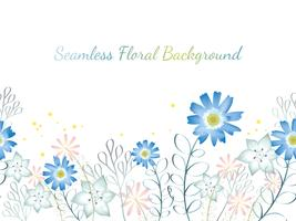 Seamless watercolor flower background illustration with text space.