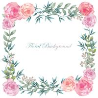 Watercolor square flower frame/background with text space.
