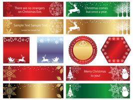 Set of assorted Christmas banners/cards isolated on a white background.