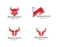 Bull head horn red logo animal vector