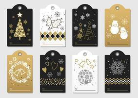 Set of assorted New Year and Christmas gift tags.