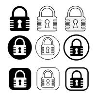 Set of simple sign Lock icon vector