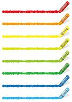 Set of colorful crayon design elements isolated on a white background.