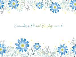 Watercolor seamless flower frame.