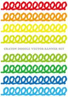 Set of colorful crayon doodle banners isolated on a white background.