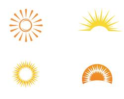 Sun logo and symbols star icon web Vector -