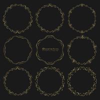 Satz goldene dekorative runde Rahmenweinleseart. Vektor-illustration