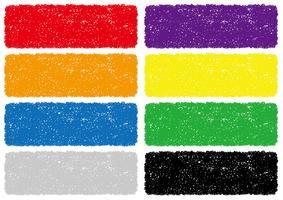 Reeks kleurrijke die achtergronden van de kleurpotloodtextuur op een witte achtergrond wordt geïsoleerd.