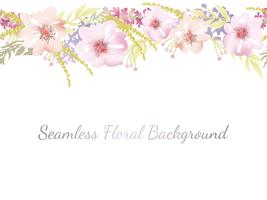 Watercolor seamless floral background with text space.