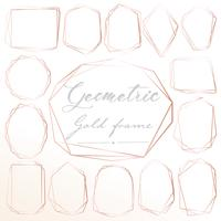 Set of geometric pink gold frame, Decorative element for wedding card, Invitations and logo. Vector illustration.