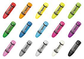 Conjunto de creyones coloridos aislados en un fondo blanco.