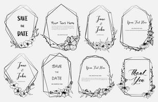 O grupo de quadro geométrico, flores tiradas mão, composição botânica, elemento decorativo para o cartão de casamento, convites Vector a ilustração.
