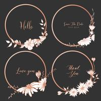 Set of dividers round frames, Hand drawn flowers, Botanical composition, Decorative element for wedding card, Invitations Vector illustration.
