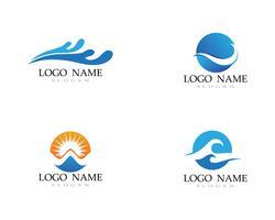 praia do logotipo da água da onda