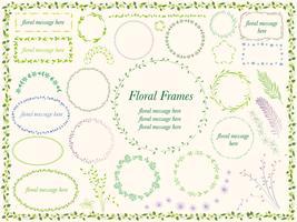 Conjunto de quadros variados de flor e planta.