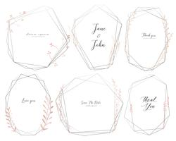 Set of geometric frame, Hand drawn flowers, Botanical composition, Decorative element for wedding card, Invitations Vector illustration.