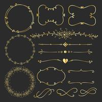 Set Of Golden Decorative Calligraphic Elements For Decoration. Handmade Vector Illustration.