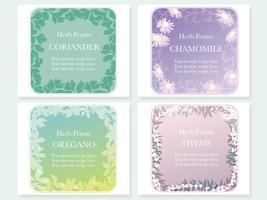 Conjunto de cuatro cuadros variados con diversas hierbas: cilantro, manzanilla, orégano y tomillo.