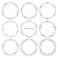 Set of decorative round frames vintage style. Vector illustration.