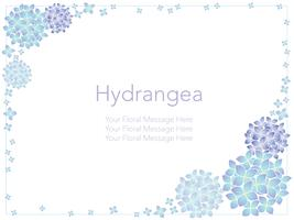 Vector frame illustration with hydrangeas.
