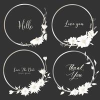 O grupo de quadros redondos dos divisores, mão tirada floresce, composição botânica, elemento decorativo para o cartão de casamento, ilustração do vetor dos convites.