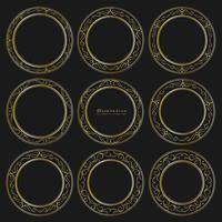 Set of golden decorative round frames vintage style. Vector illustration.