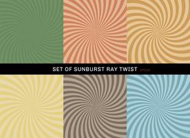 Set of starburst twist background retro style. Collection of abstract sunburst ray radial green, yellow, blue, brown, orange, backgrounds.