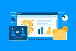 Bitcoin web transaction illustration set