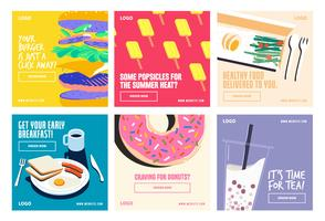 Food beverages social media post collection  vector