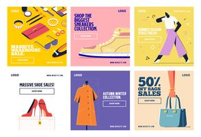 Fashion shopping social media post collection template