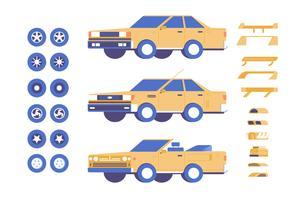 Car vehicle parts customisation mod illustration set