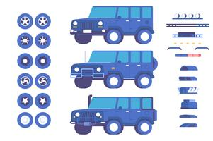 Jeep vehicle parts customisation mod illustration set