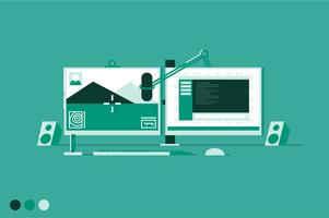 Gaming station workspace vector illustration