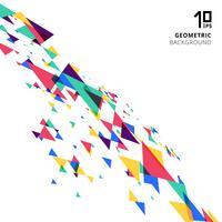 Perspectiva traslapada geométrica moderna colorida y creativa del elemento abstracto de los triángulos en el fondo blanco.