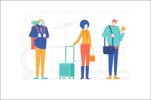 People character travel airport illustration