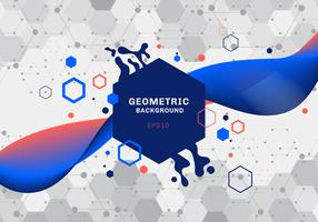 Abstract composition of geometric shapes and splash blue and orange hexagons pattern molecule with fluid gradient color flowing  on white background. Elements for design template modern communications, medicine, science and digital technology.