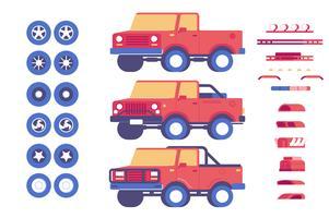 Set di illustrazione di personalizzazione di parti di veicolo jeep