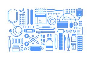 Ensemble d'outils médicaux plats