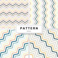 O jogo da cor dos pastels dos testes padrões da viga no fundo branco. Amarelo, laranja, azul profundo, marrom, verde, cinza. Perfeito para papéis de parede e preenchimentos de padrão zig zag.