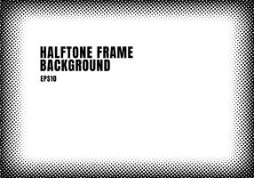 Black halftone dots texture frame on white background with copy space. Monochrome spotted framework for banner web, brochure, poster, leaflet, flyer, presentation, etc.