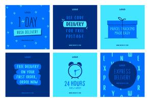 Online shopping delivery social media post collection template