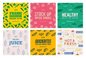Food beverages delivery social media post collection template vector