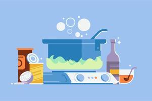 Cucinare cibo in set di illustrazione pot