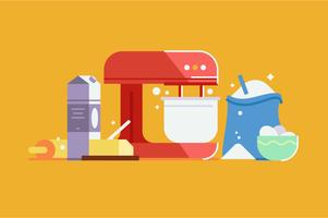 Baking cake with mixer illustration set vector