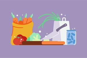 Chopping vegetables and groceries illustration set