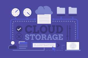Conjunto de ilustração de tecnologia de armazenamento em nuvem