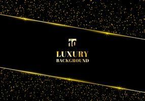 Abstraktes goldenes Funkeln und glänzender Goldrahmen auf schwarzem Hintergrund. Luxus eleganten trendigen Stil. Sie können für Hochzeit Einladungskarten, Verpackungen, Banner, Karten, Flyer, Einladungen, Partys, Printwerbung verwenden. usw.